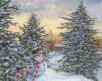 Snowman Painting - Christmas Painting - Winter Landscape - Holiday Painting - Snowman Decor - Matted Print