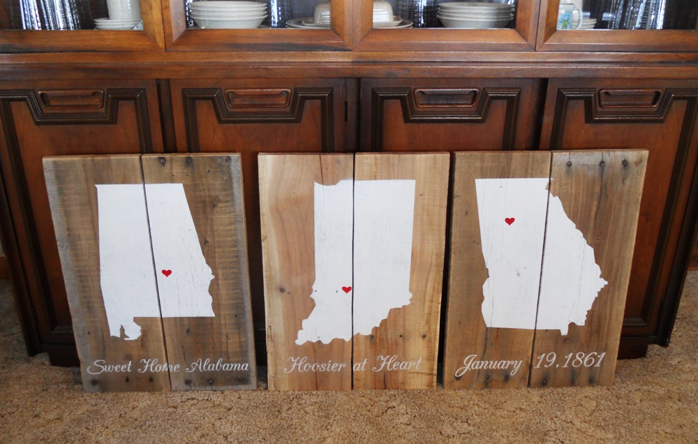 Reclaimed States Wood Sign • Custom Home State Sign • State Pride • Rustic  state sign - Indiana Wood Sign Etsy