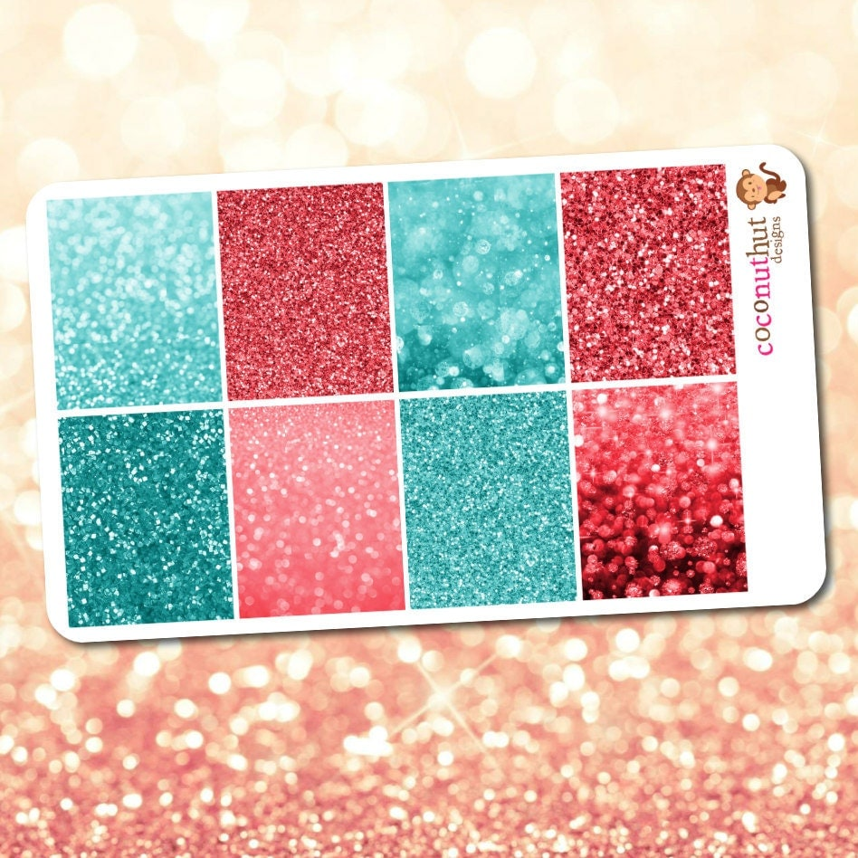 Coral Pink & Teal Glitter And Bokeh Full Box Planner Stickers