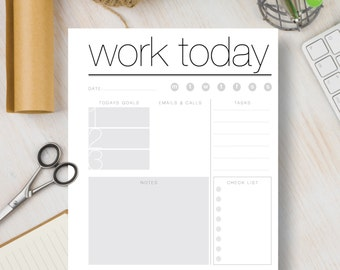 Instant Download Printable Planner Daily Work - Black and White Instant Planner insert includes 4 sizes: A4, A5, Letter & Half Letter | #535