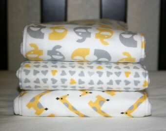 Gender neutral yellow and grey burp cloths