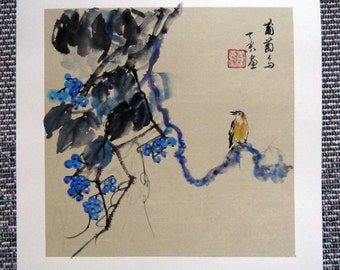 BIRD AND GRAPES-Traditional Chinese watercolor painting-Handicraft Art- Wall Art -home decor