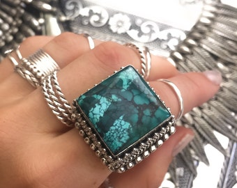 SALE Handmade oxidized sterling silver turquoise statement ring size 7