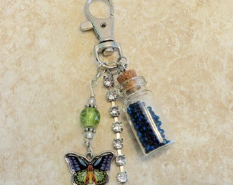 Hues of Blue Butterfly Charm/Key clasp