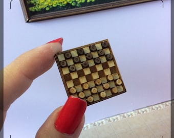 1:12 DIY Dollhouse miniature Board checkers kit/ (TY105)