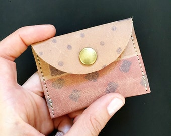 Leather Coin Pouch // Beachy Boho Printed Leather