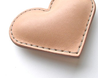 Leather Heart // Leather Keychain //Natural Leather // Keychain