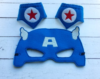 Captain America mask.Embroidered felt mask.Super hero mask