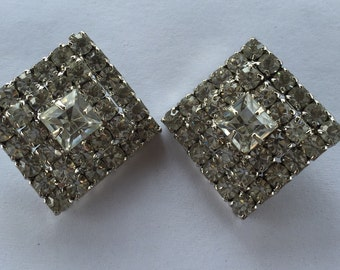 Exquisite Vintage Sparkling Clear Rhinestone Diamond Shape Clip On Earrings