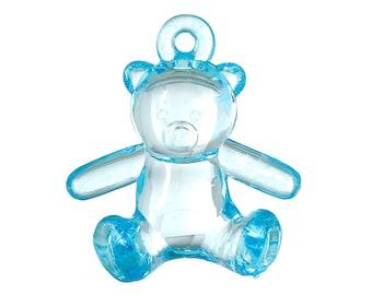 Sweet Baby Teddy Bear Acrylic Charms - Boy  - Blue - Package of 10