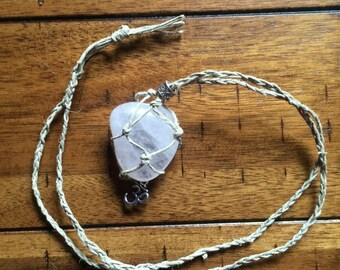 Rose Quartz macrame hemp crystal necklace