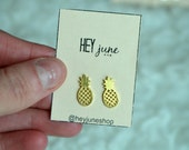 Pineapple stud earrings, pineapple earrings, gold pineapple earrings, summer earrings, minimalist earrings, silver pineapple earrings