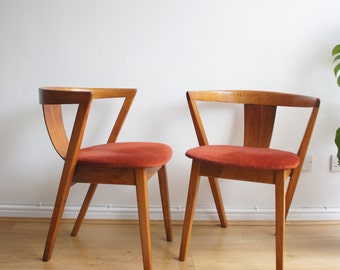 Mid century 50's 60's curved back bentwood Danish dining chairs