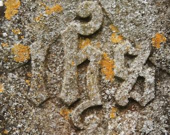 Weathered Gravestone - Glendalough - County Wicklow - Republic of Ireland - Ireland - Photo - Print