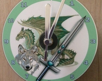 Dragon, Wolf and Sword, Fantasy Genre,  CD Clock (Can be Personalised)