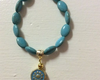 Turquoise Magnesite Beads with Charm Bracelet