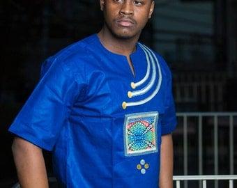 Obranee Blue Wooodin Men's Shirt- Ankara
