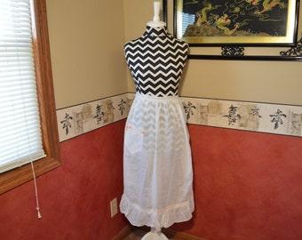 Vintage Pink Lace Half Apron, Crochet Sheer Waitress Clothing 1930 era,  #331