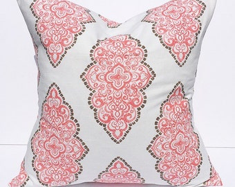 Throw pillow, accent pillow, decorative throw pillow cover, coral pillow cover, couch pillow cover, accent pillow cover, home decor, coral