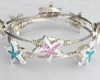 Bangle Bracelets, pink and Blue Starfish,  set of 2