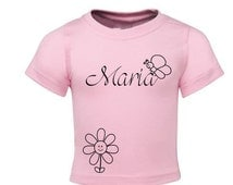 Personalized pink Infant Tee butterfly from 3-18m - Fun kid T-Shirt - Baby T-Shirt - Personalized Kid Shirt - Girl Shirt - Baby gift