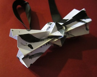 black and white origami bow tie