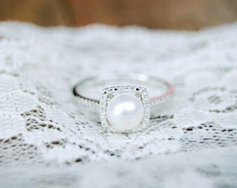 Pearl Ring, Birthstone Ring, June Birthstone, Pearl Birthstone, Silver Pearl Ring, June, Sterling Silver