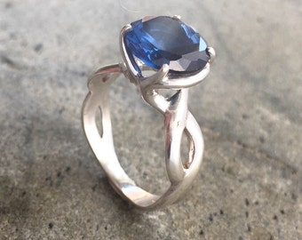 Sapphire Engagement Ring, 2 CaratSapphire, Created Sapphire, Blue Sapphire Ring, Sapphire Promise Ring, Something Blue, Solid Silver Ring