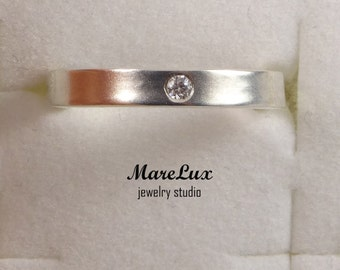 Diamond April Birthstone Silver Ring, Synthetic  Diamond Ring, Sterling Silver or Gold Diamond Band Ring, Round Cut  Ring