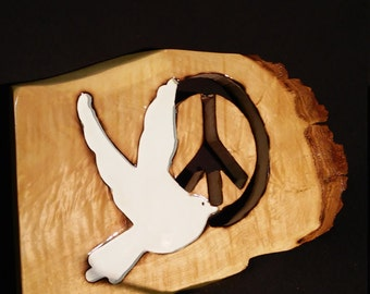 Handmade Maple peace sign with dove