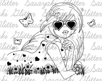 J Chilling Digital Stamp by Sasayaki Glitter