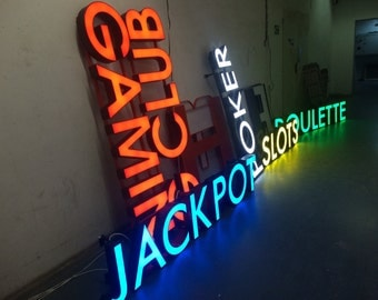 Outdoor sign for shop LED sign metal letters lights, letters LED, restaurant sign, shop sign, business sign, light up sign, outdoor letters