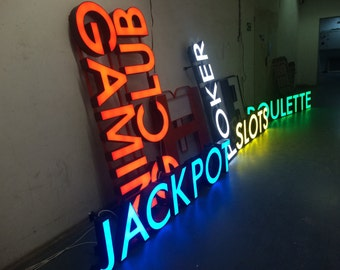 Light up  letters store sign, restaurant sign, shop sign, business sign light up, LED sign, letters LED
