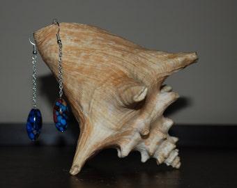Blue Tie Dye Earrings
