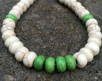 Bracelet, Lime Green Bracelet, Howlite Bracelet, Beaded Bracelet, Beach Bracelet, Boho Bracelet, Jewelry, Vacation Jewelry