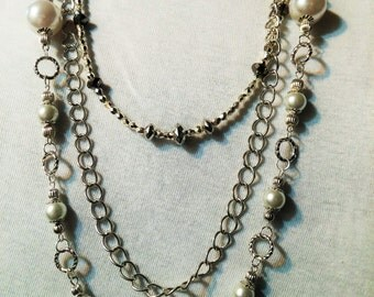 layered chain and pearl necklace, with silver beads