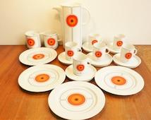 Vintage Thomas ECLIPSE Rosenthal 1970's 11 pieces coffee pot cups plates milk sugar Mid Century Modern Hans Theo Baumann / Barbara Brenner