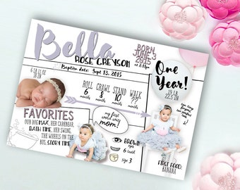Birthday Infographic, Printable Digital File JPG or PDF, One Year Milestones, First Birthday Announcement Invitation or Thank You, Girl Boy