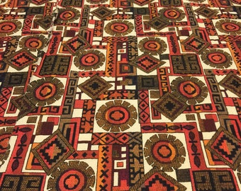 Vintage Barkcloth. Vintage Upholstery Fabric. Vintage Orange Home Decor Fabric. Southwest Fabric.