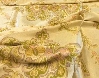 Gold Paisley Fabric. German Fabric. Yellow Floral Fabric. Paisley Fabric. Green Paisely Fabric.