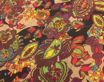 Vintage Floral Fabric. 1/2 yd. Vintage Crinkle Fabric. Floral Crushed Fabric. Puckered Fabric. 70s Floral Fabric. Vintage Purple Fabric