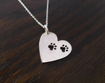 Sterling Silver paws to your heart pendant 25mm