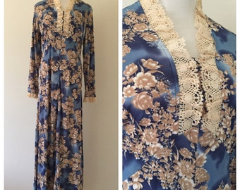 Vintage 1970s Blue and Tan Floral Long-Sleeved Maxi Dress with Lace Trim