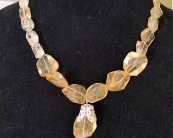 Handmade Short Yellow Citrine Necklace