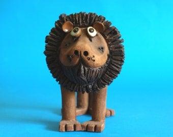 Vintage Retro Pottery Whimsical Lion - Leo the Funny Lion Figurine - Retro 70s Home Decor - By Artist T Jones