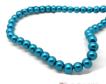 Lot of 100 Blue duck glass 4 mm beads