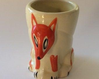 Vintage Orange Fox Egg Cup