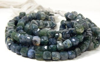 Green Moss Agate Gemstone Faceted Beads / Green Moss Agate 3D Cube Beads / Box Shape / Size 7.8x7.5 mm Approx  Code - 0364