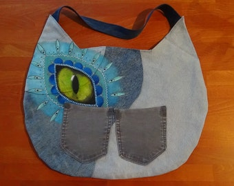 UniCat Bag - Cat Purse,Hand painted recycled denim