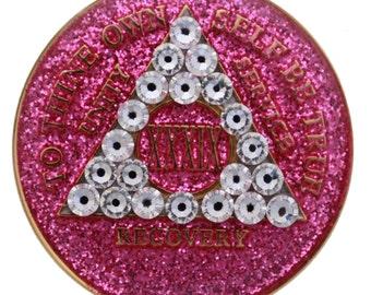 Crystallized Glitter Pink Sobriety Medallion